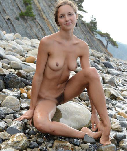 Extra slender nude blonde