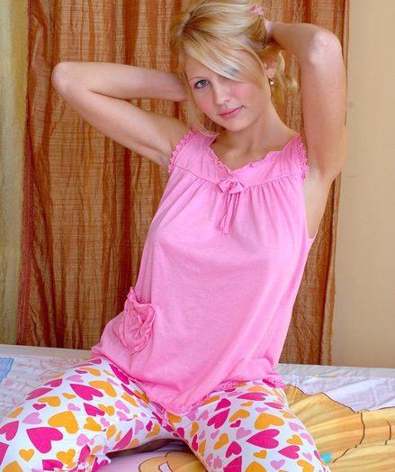 Blonde undressing