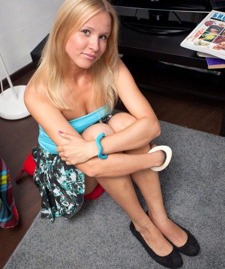 Demure blonde teen